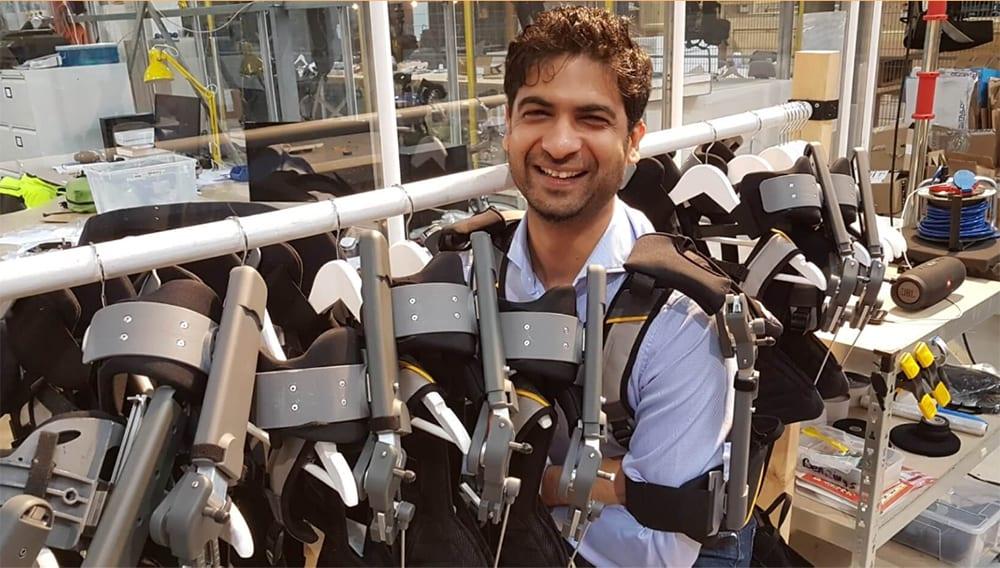 Skelex co-founder Gaurav Genani presents his innovative exoskeleton